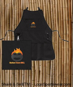 Button Down BBQ Smoking and Grilling Apron Design Zoom